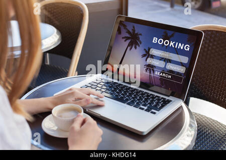 booking online concept, travel planning - Stock Photo