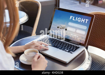 flight search on internet website, travel planning concept, airplane tickets online - Stock Photo