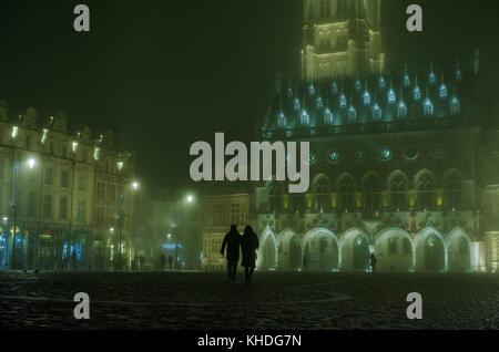 Night view of the Town Hall and Belfry in Arras, France - Stock Photo