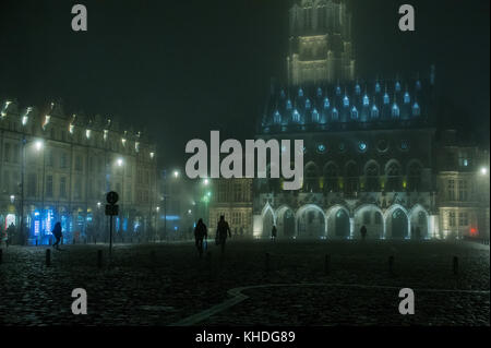 Nighttime view of the town square, town hall and belfry in Arras, France - Stock Photo