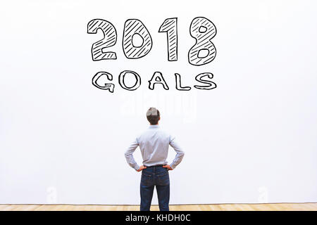 goals 2018 concept, business plan to achieve - Stock Photo