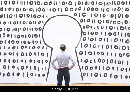access to digital data on server, secured login concept - Stock Photo