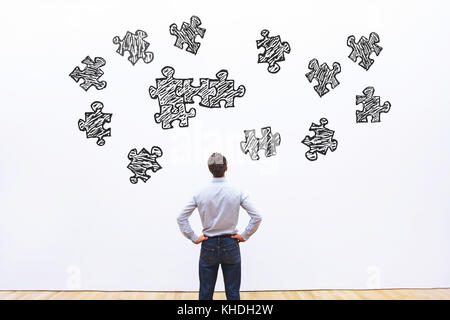 puzzle assembly, business concept - Stock Photo