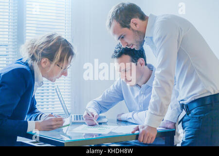 business team working on startup project development, group of people meeting in modern bright office - Stock Photo