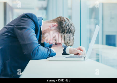 failure concept or bad news, desperate sad tired business man with many hopeless problems, stress at work - Stock Photo
