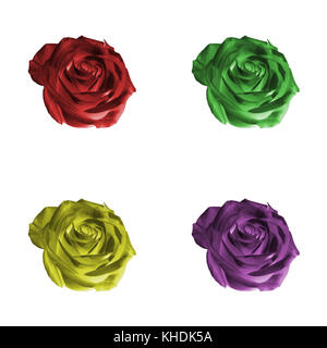 Floral pattern or background: set of four decorative colored (red, green, yellow, purple, violet) flowers - roses - Stock Photo
