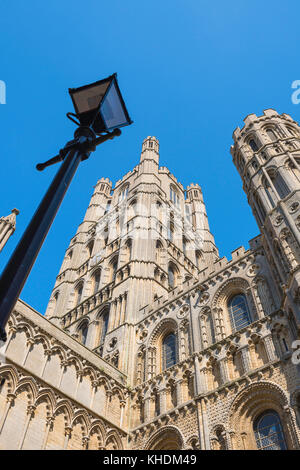 Ely Cathedral, the west tower of the medieval cathedral in Ely, Cambridgeshire, England, UK - Stock Photo