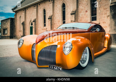 Barossa Valley, South Australia, January 16, 2016: 1939 Lincoln Zephyr car parked near old church at main street - Stock Photo