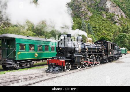 The Kingston Flyer, steam engine locomotive, South Island, New Zealand - Stock Photo