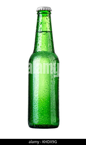 beer in a green bottle isolated on a white background - Stock Photo