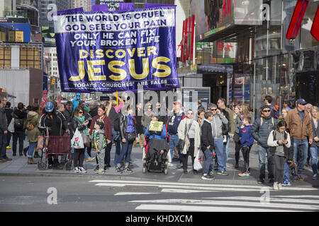 Christian public relations being done in the heart of Times Square at 42nd & Broadway in New York City. - Stock Photo