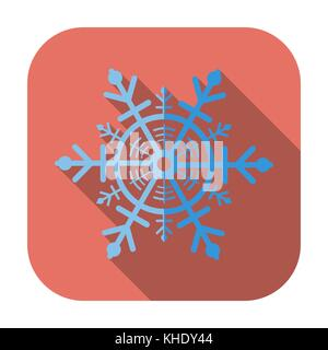 Snowflake. Single flat icon on the button. Vector illustration. - Stock Photo