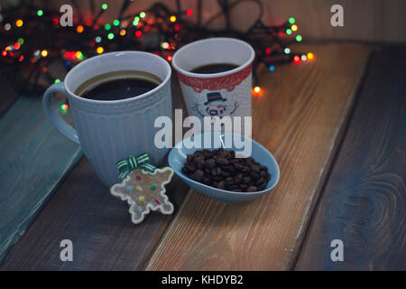 Blue cup and glass on the table  - Stock Photo