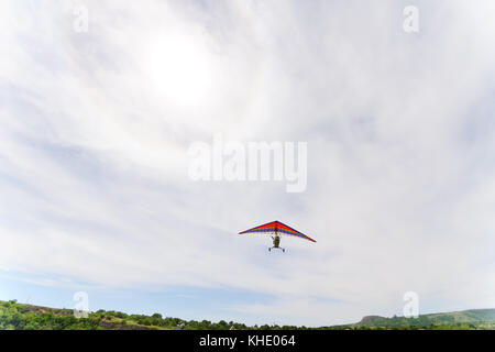 Hang-gliding in the sky - Stock Photo