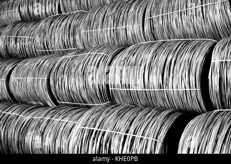 Production of metal wire rod at the metallurgical plant - Stock Photo