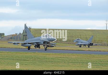 The UKs Eurofighter Typhoon a twin engined Canard-delta Wing fast jet fighter some of which are based at RAF lLossiemoputh - Stock Photo