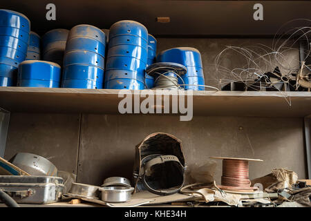 Close up shelves with equipment in joinery - Stock Photo