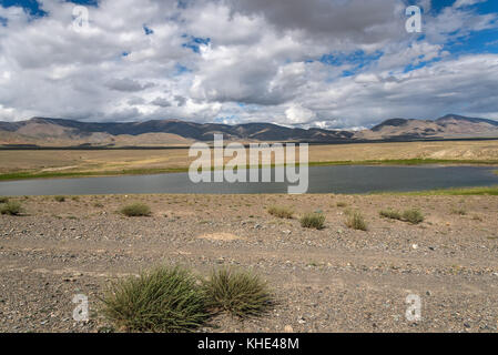 Scenic view of a beautiful lake in the desert with trees and vegetation on the banks on a background of mountains, - Stock Photo