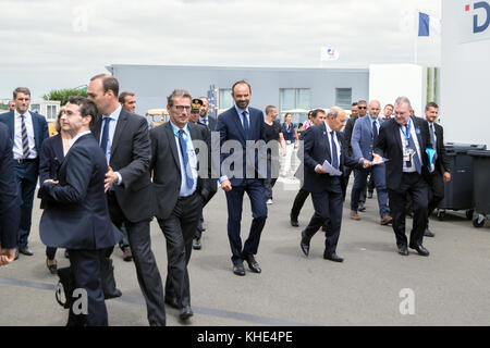 PARIS, FRANCE - JUN 23, 2017: French Prime Minister Edouard Philippe visiting various aerospace companies at the - Stock Photo