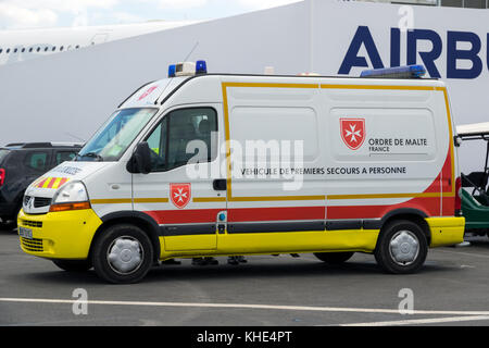 PARIS, FRANCE - JUN 23, 2017: Ordre de Malte ambulance at the Paris Air Show. - Stock Photo