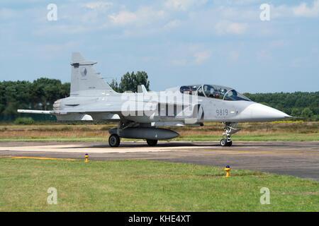 KLEINE BROGEL, BELGIUM - JULY 17: Czech Air Force Saab JAS39 Gripen light single-engine multirole fighter aircraft - Stock Photo