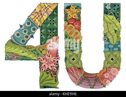 4U, for U. Vector decorative zentangle object - Stock Photo