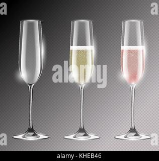 Transparent champagne glass flute vector illustration. Realistic set of glasses with sparkling white and rose wine - Stock Photo