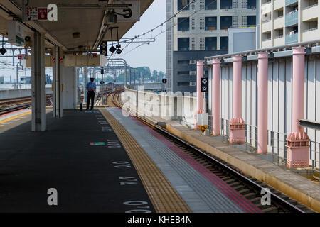 Iga Ueno - Japan, June 1, 2017: Empty modern train station at Iga Ueno - Stock Photo