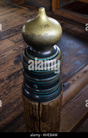 Iga Ueno - Japan, June 1, 2017: Decorated bannister in the interior of Ueno castle - Stock Photo