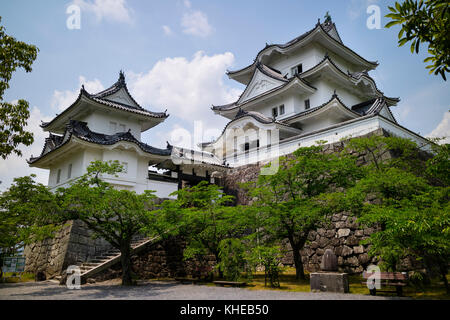 Iga Ueno - Japan, June 1, 2017:  The reconstructed Ninja castle of Iga Ueno also known as 'Hakuho' or White Phoenix - Stock Photo