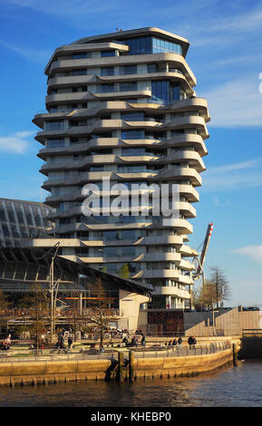 Germany, Hamburg, HafenCity, Marco Polo Residential Tower and Unilever building on Marco Polo Terrace - Stock Photo