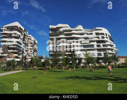 Europe , Italy , Lombardy , Milan ,Citylife district , residencies building desgned by Zaha Hadid - Stock Photo