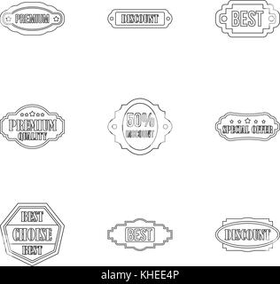 Sticker icons set, outline style - Stock Photo