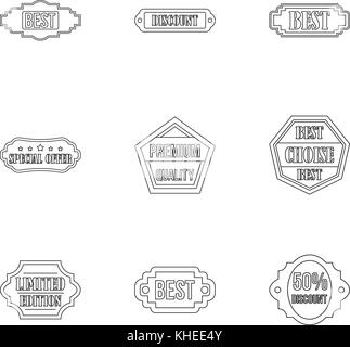 Badge icons set, outline style - Stock Photo