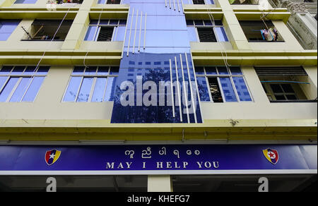 Yangon, Myanmar - Feb 13, 2017. Police station at business district in Yangon, Myanmar. Yangon is the country main - Stock Photo