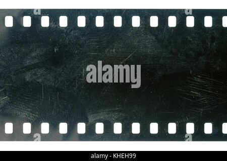 Blank grained scratched film strip texture background - Stock Photo