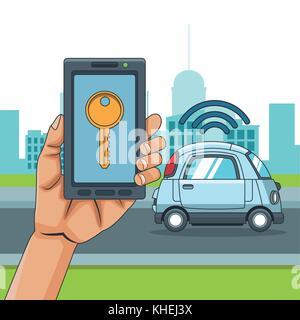 Smart car smarthphone app - Stock Photo