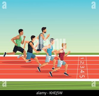 People on running track - Stock Photo