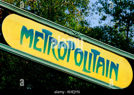 Paris, France. Paris Metro station (Cite) sign, traditional design by Hector Guimard in Art Nouveau style - Stock Photo