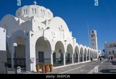 Orthodox church Mitropolis Ypapanti at the village Thira, Santorin island, Cyclades, Aegean, Greece - Stock Photo