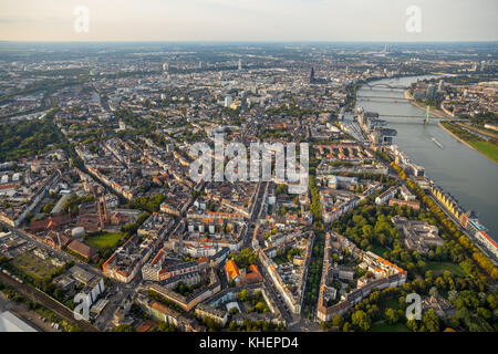 City view with Cologne Cathedral and Rhine, Cologne, Rhineland, North Rhine-Westphalia, Germany - Stock Photo