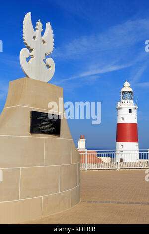 Sikorski Memorial & Europa Point Lighthouse, Gibraltar, United Kingdom, Europe - Stock Photo