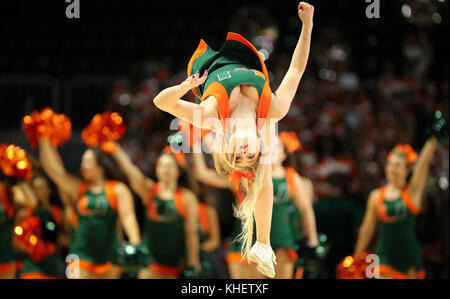 November 10, 2017: The Miami Hurricanes cheerleaders perform during a NCAA Women's basketball game between the FIU - Stock Photo
