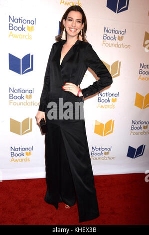 New York, USA. 15th Nov, 2017. Anne Hathaway attends the 68th National Book Awards at Cipriani Wall Street on November - Stock Photo