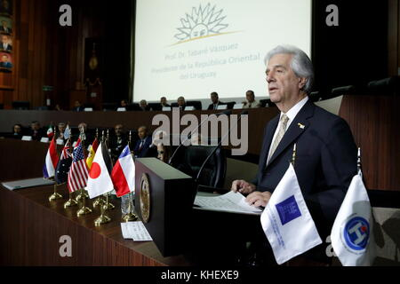 Uruguayan President Tabare Vazquez takes part at the inauguration of the 16th Congress Hospital of the Future in - Stock Photo