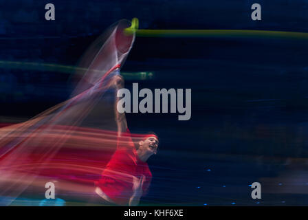 London, UK. 17th Nov, 2017. ATP Tennis, London, November 17, 2017 Dominic THIEM, AUT pulled blurs long time exposure - Stock Photo