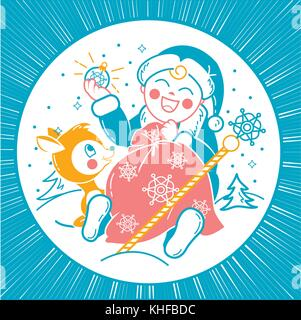 concept of Santa Claus in the form of a small child with a bag of gifts and small deer in a winter forest. Icon - Stock Photo