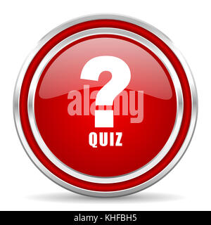 Quiz red glossy round web icon  Circle isolated internet