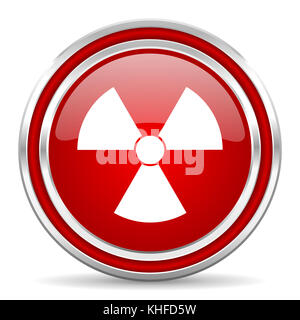 Radiation red silver metallic chrome border web and mobile phone icon on white background with shadow - Stock Photo