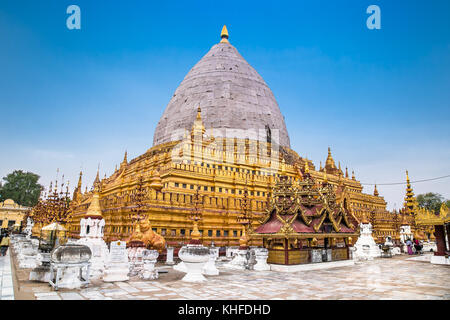 Shwezigon Paya pagoda in Bagan, Myanmar.(Burma) - Stock Photo